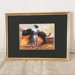 Hand Painted Bullfighter Scene - Painting